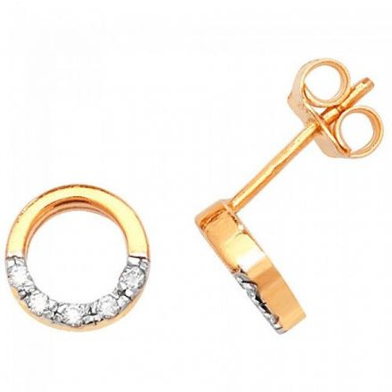 Just Gold Earrings -9Ct Earring Studs Cz, ES332